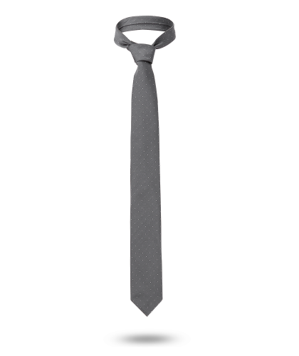 Cravate 7 plis à pois grise